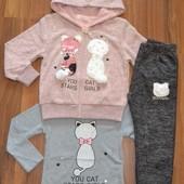 Тёплые спортивные трикотажные термокостюмы  для девочек. 98-164