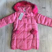 Зимнее пальто с меховыми помпонами для девочек. 98-134 рост Польша