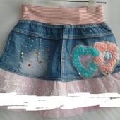 Джинсовая детская юбка ( типа шорты) . разные рисунки, для девочки 3-6 лет