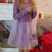 Новый сбор!Красивые нарядные платья для девочек на 110-116р!в комплекте сумочка! Фиолет  в наличии!