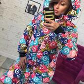 Женская зимняя цветная куртка-пальто с капюшоном 42, 44, 46, 3 расцветки.В наличие!Отправка сразу!