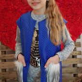 В наличии синие 140, 146см!!!  Стильные жилетки для модниц. Размеры 134-152см