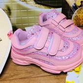 В наличии розовые 21,22,23,24,25р!!!! Шикарные кроссовочки для маленьких принцесс