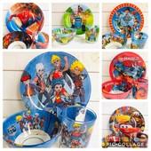 Детский набор посуды 3 предмета большой выбор