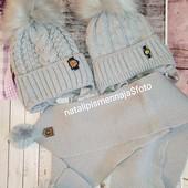 Снижение цены-99грн! Крутые шапочки на флисе и с мех.помпонами для маленьких.Серые и голубые