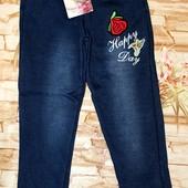 Утепленые лосины для девочек на меху под джинс 8-10 лет