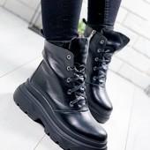 Кожа шикарные ботинки женские зима