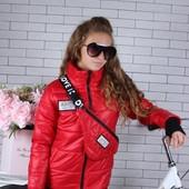 Модная стильная куртка +сумка в комплекте 134-164 размер
