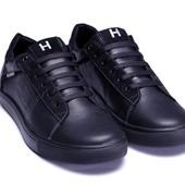 Модные мужские кожаные кеды Tommy Hilfiger из натуральной кожи