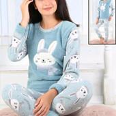 Теплая пижама, домашний костюм флис велсофт для девочки на 9-16 лет, турция