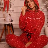 Пижамы теплые женские, домашние костюмы, флис + махра, Турция, р-ры L XL