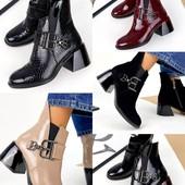 Ботильоны ,ботинки каблук натуральная кожа замш