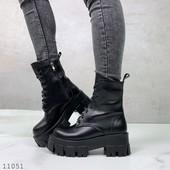 Зимние ботинки из натуральной кожи на платформе