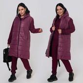 Комбинированная куртка-пальто. 46-48; 50-52; 54-56; 58-60