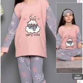 Теплая пижама, домашний костюм флис велсофт для девочек на 5 6 7 8 лет, котик мишка зайка, турция